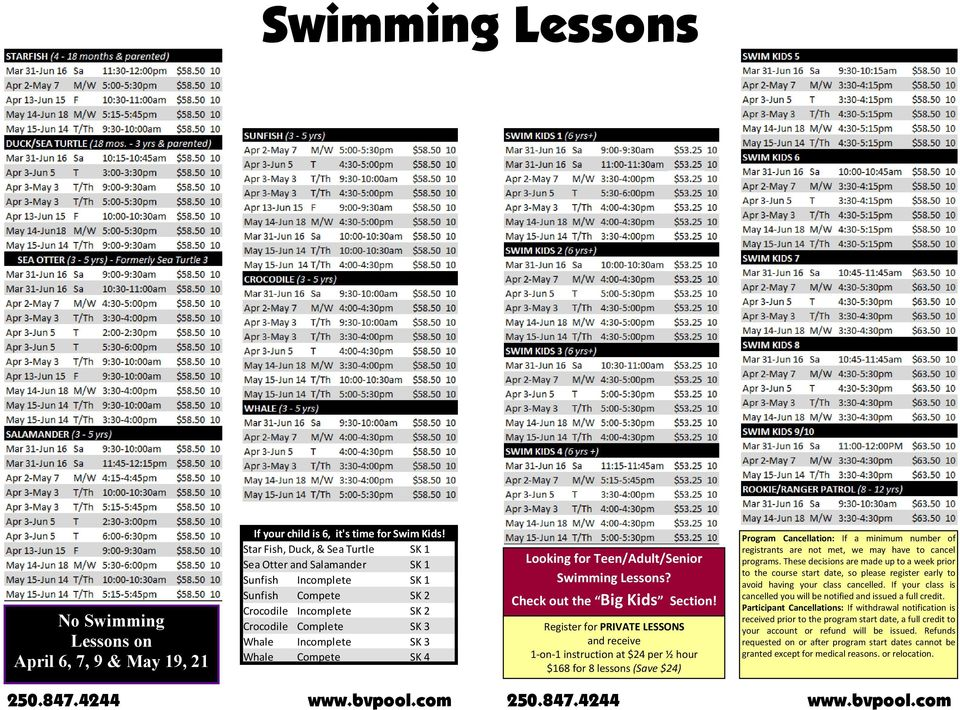 4 Looking for Teen/Adult/Senior Swimming Lessons? Check out the Big Kids Section!