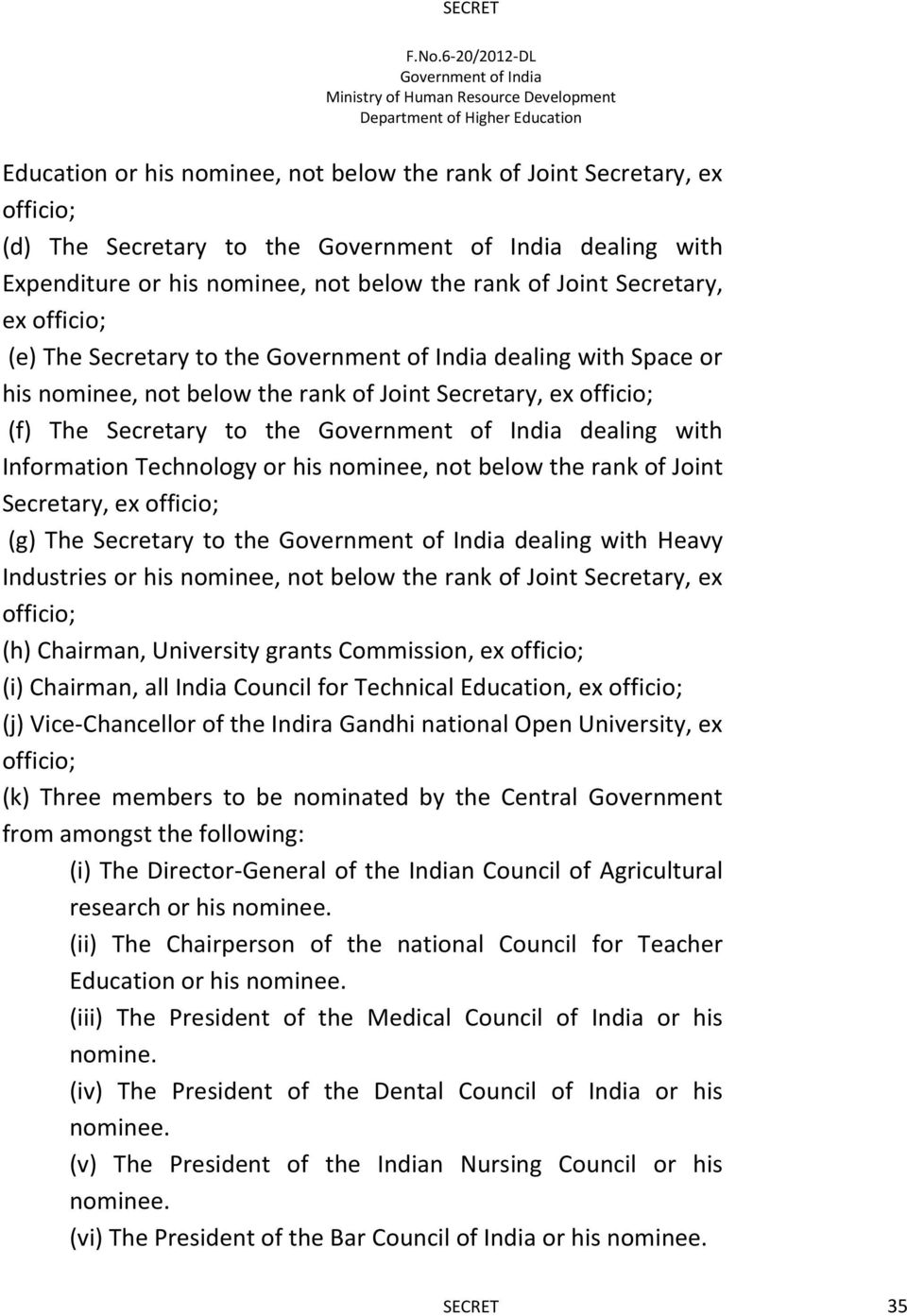 rank of Joint Secretary, ex officio; (g) The Secretary to the dealing with Heavy Industries or his nominee, not below the rank of Joint Secretary, ex officio; (h) Chairman, University grants