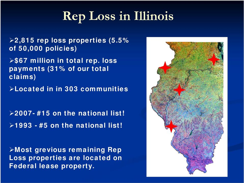 loss payments (31% of our total claims) Located in in 303 communities 2007-