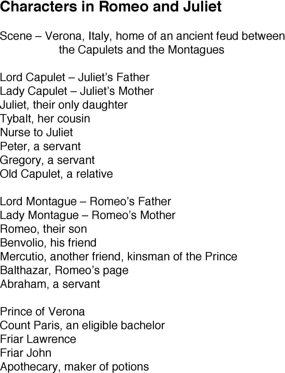 relative Lord Montague Romeo s Father Lady Montague Romeo s Mother Romeo, their son Benvolio, his friend Mercutio, another friend, kinsman of the