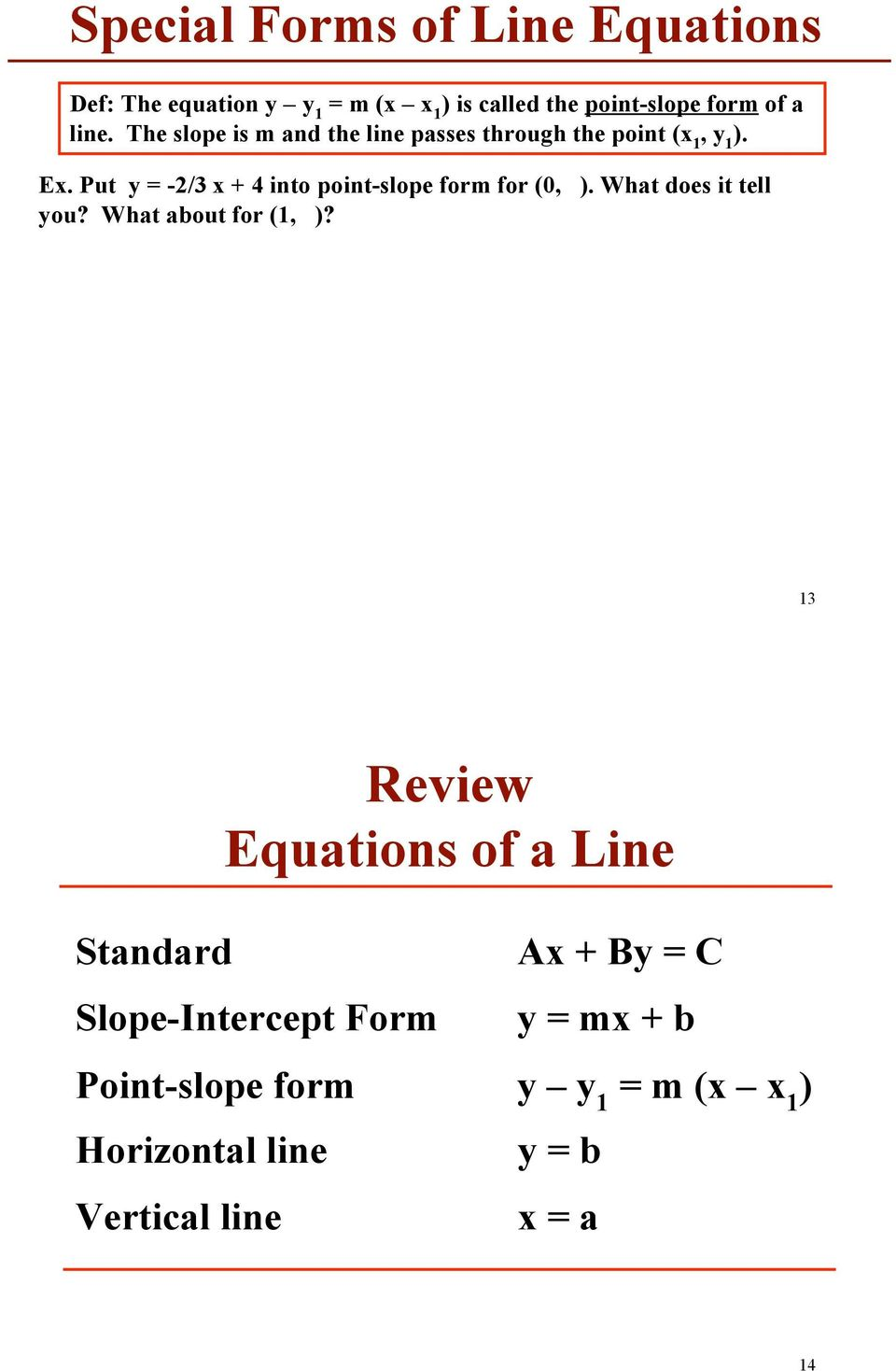 Warm Up Exercse 1 3 Linear Functions Straight Lines Pdf