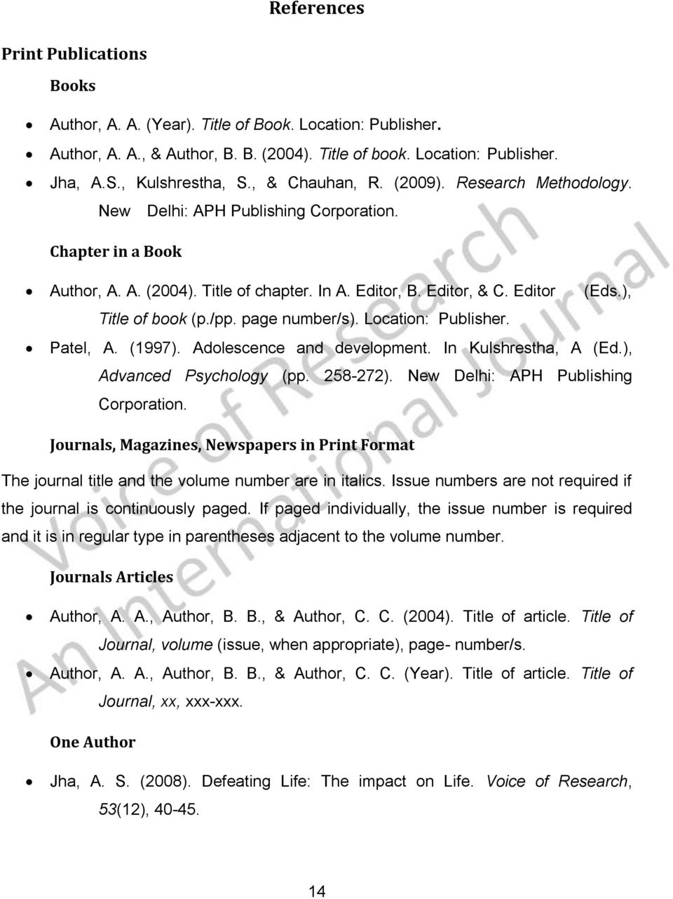), Title of book (p./pp. page number/s). Location: Publisher. Patel, A. (1997). Adolescence and development. In Kulshrestha, A (Ed.), Advanced Psychology (pp. 258-272).