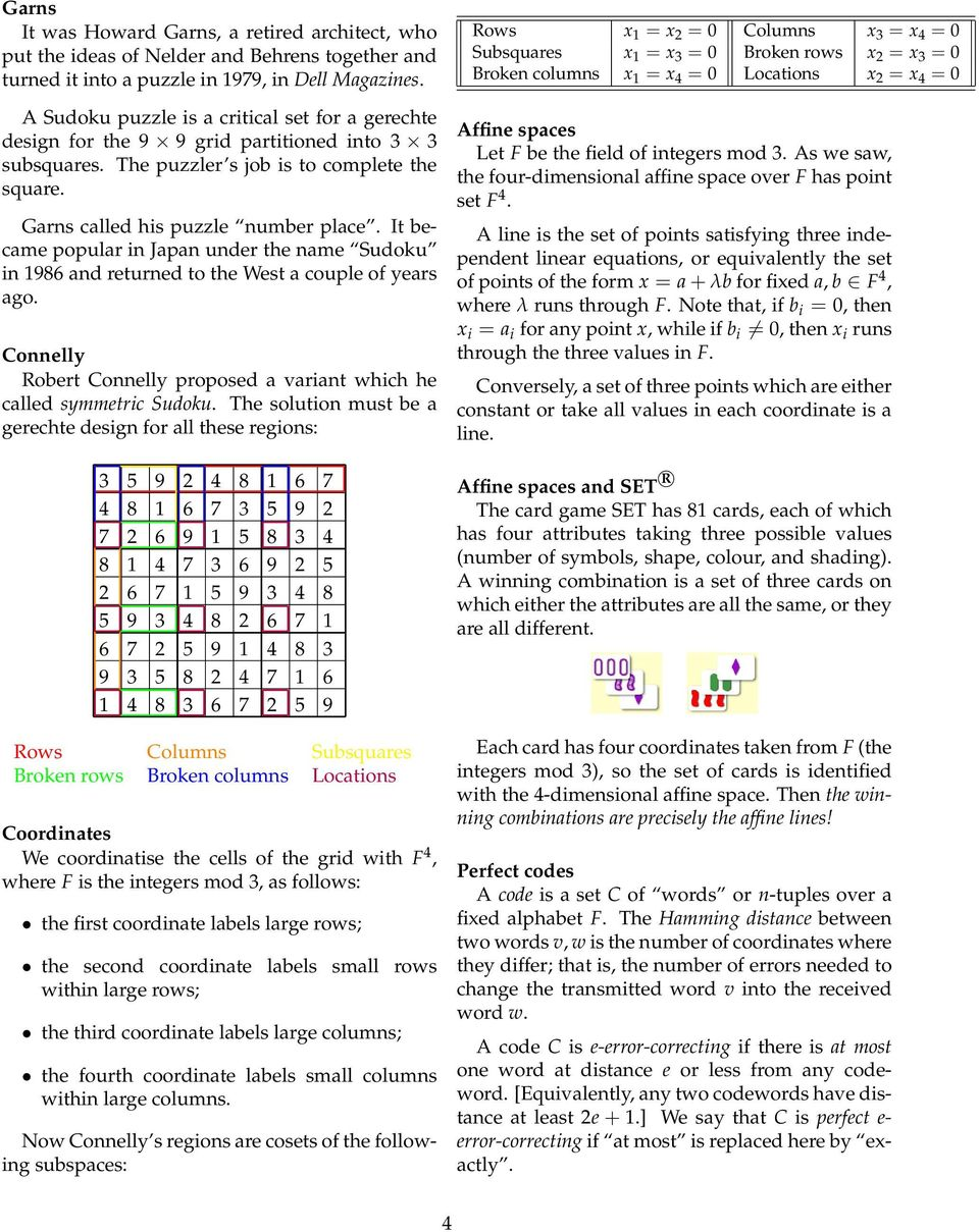 It became popular in Japan under the name Sudoku in 1986 and returned to the West a couple of years ago. Connelly Robert Connelly proposed a variant which he called symmetric Sudoku.