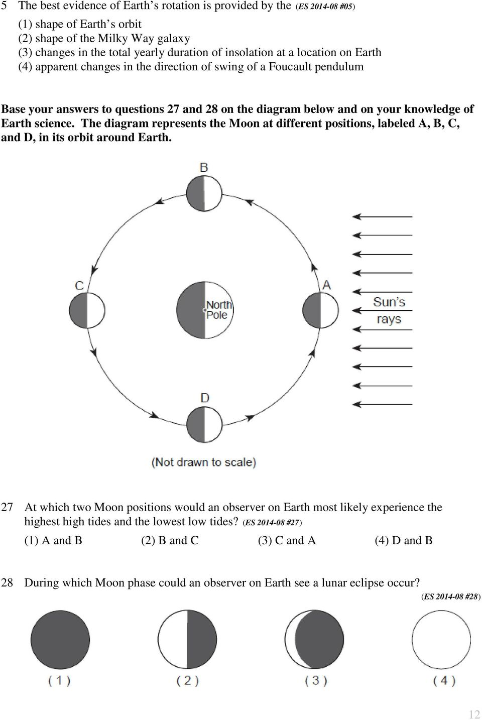 The diagram represents the Moon at different positions, labeled A, B, C, and D, in its orbit around Earth.