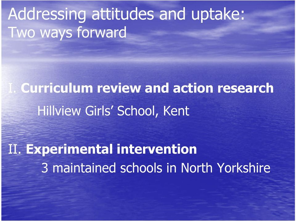 Curriculum review and action research Hillview