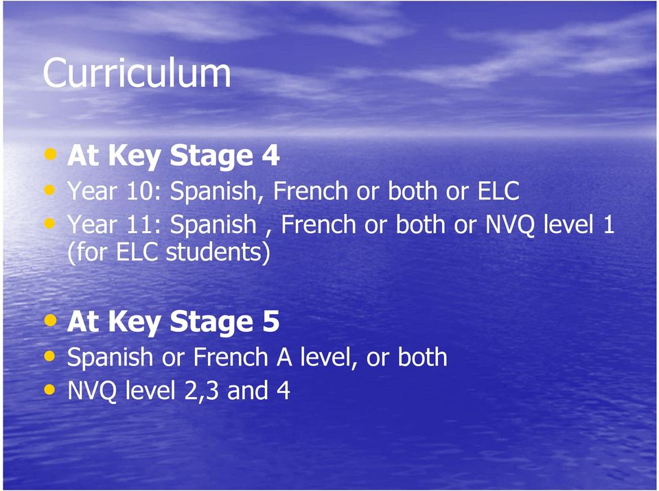 NVQ level 1 (for ELC students) At Key Stage 5