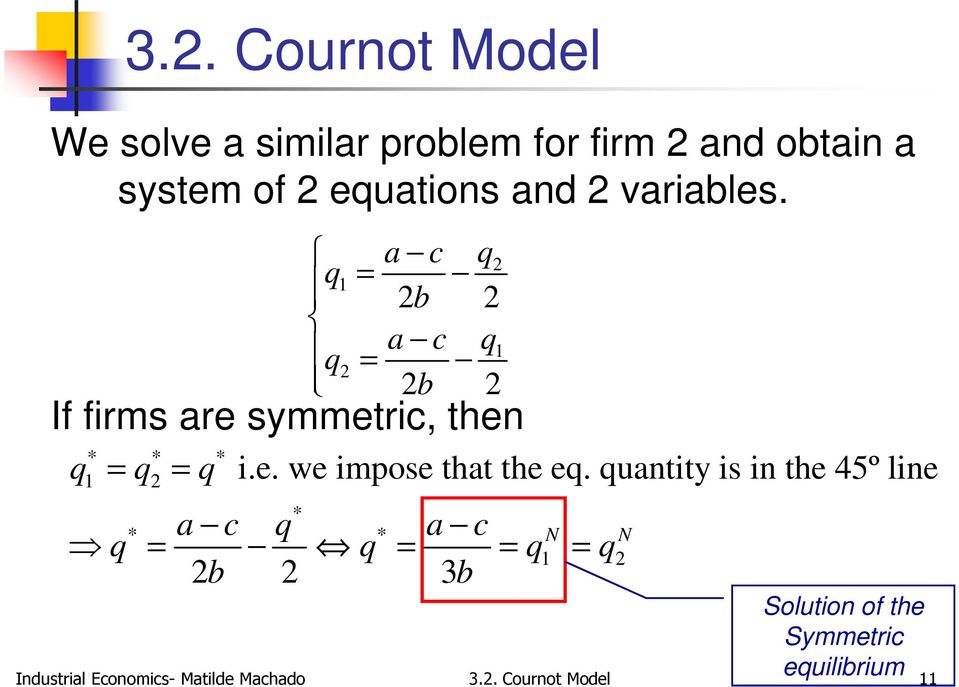 quantity is in the 45º line * * a c q * a c q = q = = q = q 2b 2 3b N N 1 2 Solution of the