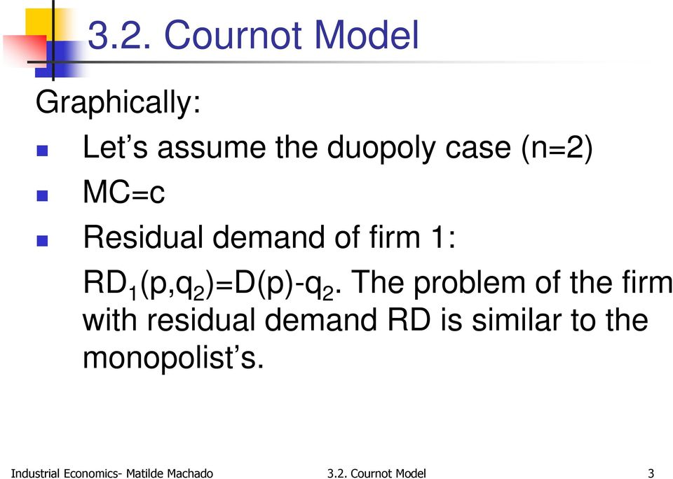 The problem of the firm with residual demand RD is similar
