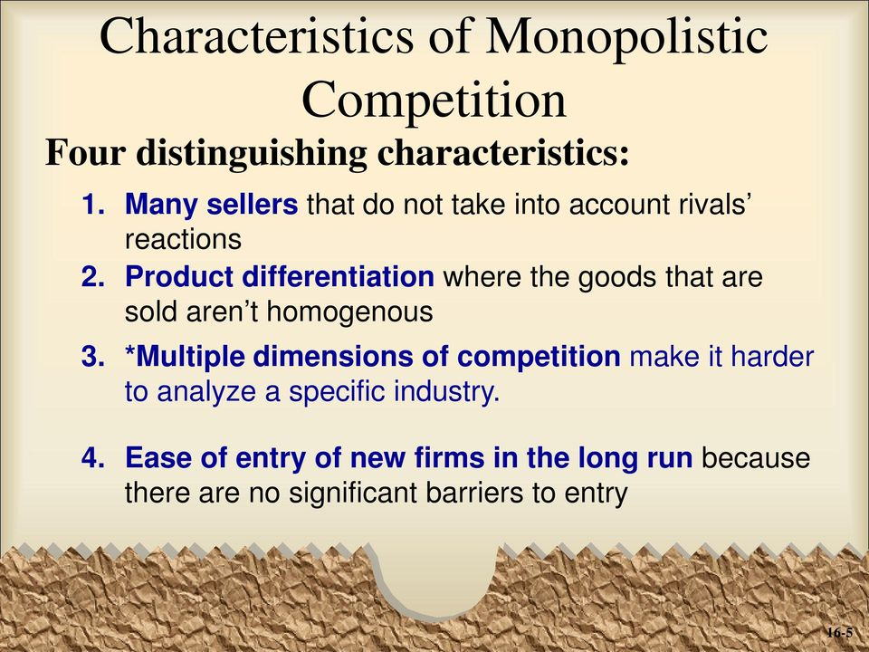 Product differentiation where the goods that are sold aren t homogenous 3.
