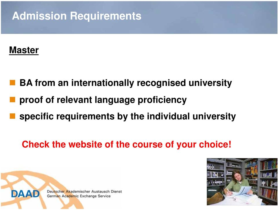 relevant language proficiency specific requirements