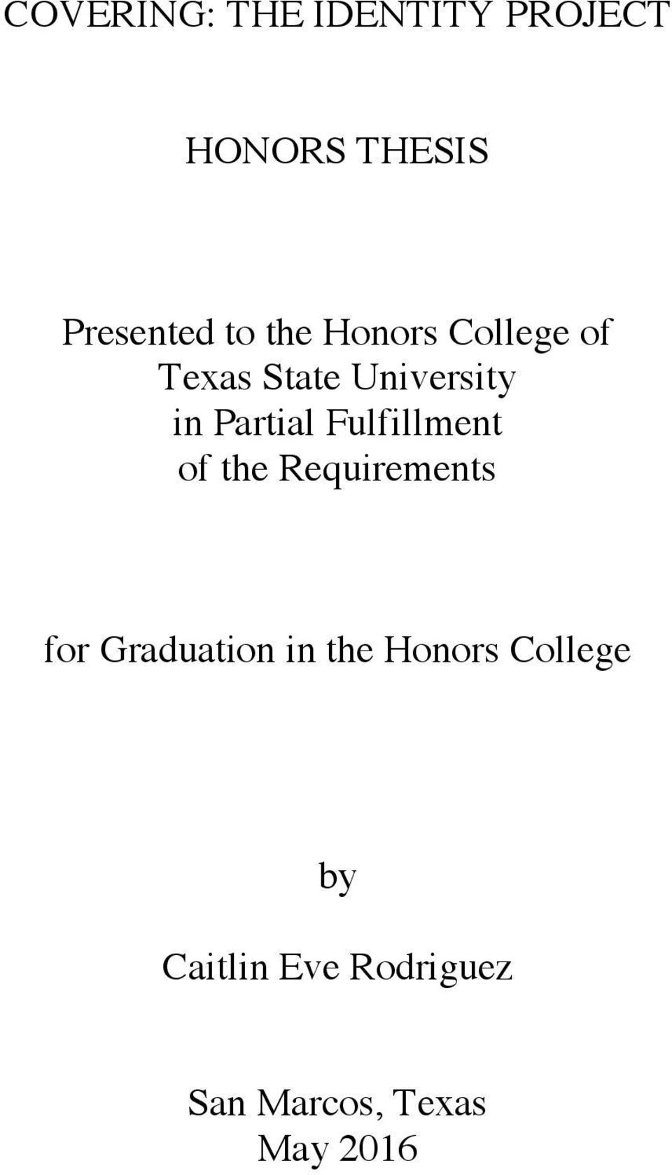 Fulfillment of the Requirements for Graduation in the