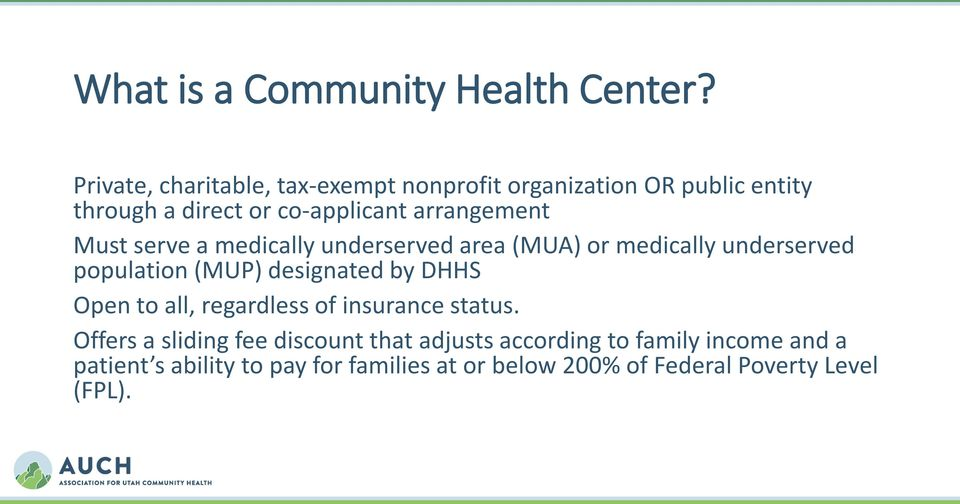 Must serve a medically underserved area (MUA) or medically underserved population (MUP) designated by DHHS Open to