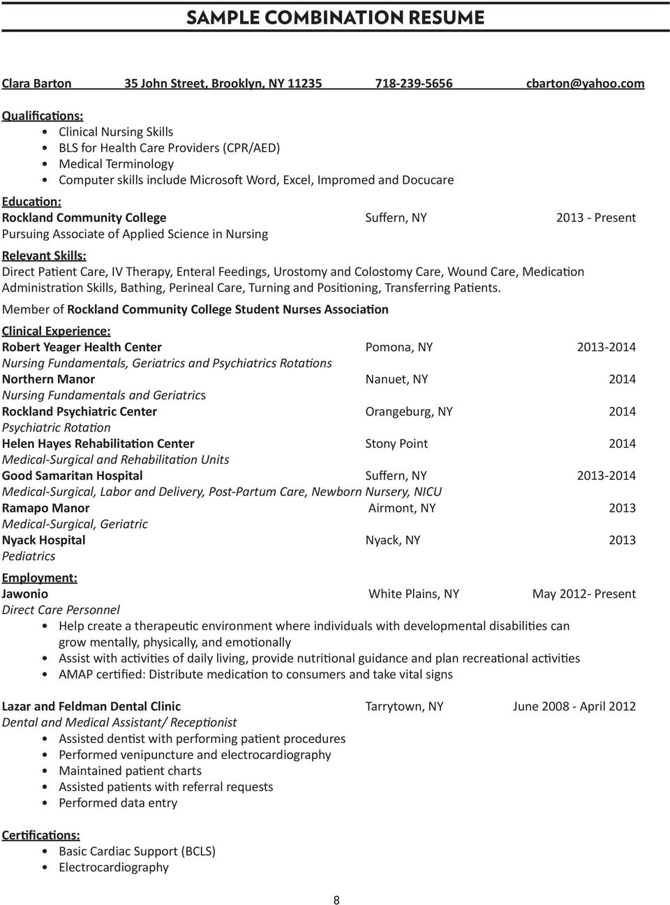 career services resume writing guide pdf community college suffern ny 2013 present pursuing associate of applied science in nursing relevant