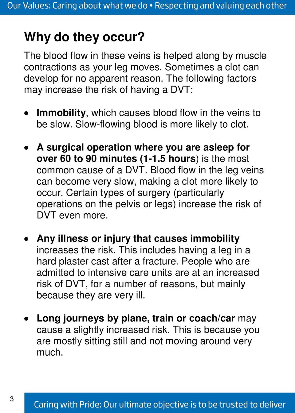 A surgical operation where you are asleep for over 60 to 90 minutes (1-1.5 hours) is the most common cause of a DVT.