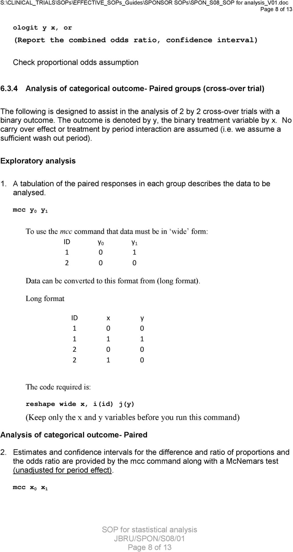Exploratory analysis 1. A tabulation of the paired responses in each group describes the data to be analysed.