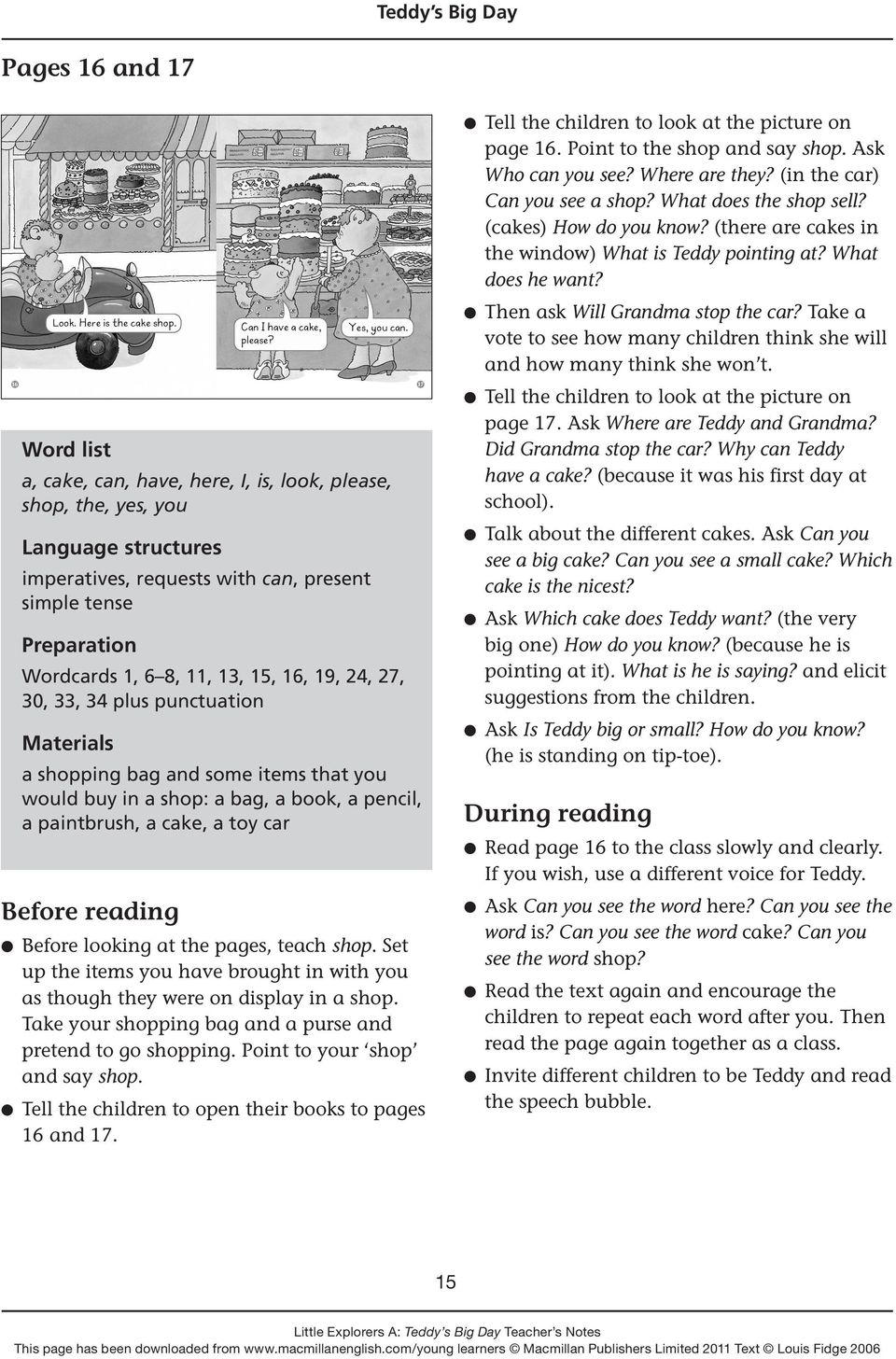 30, 33, 34 plus punctuation Materials a shopping bag and some items that you would buy in a shop: a bag, a book, a pencil, a paintbrush, a cake, a toy car Before reading l Before looking at the