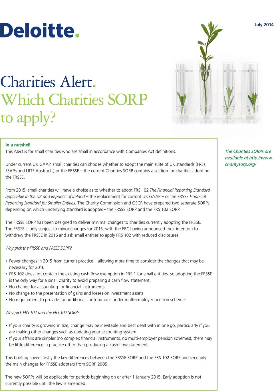 charities adopting the FRSSE. The Charities SORPs are available at http://www. charitysorp.