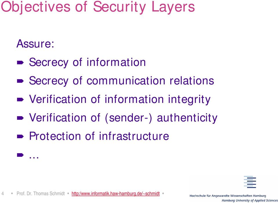 Verification of (sender-) authenticity Protection of infrastructure.