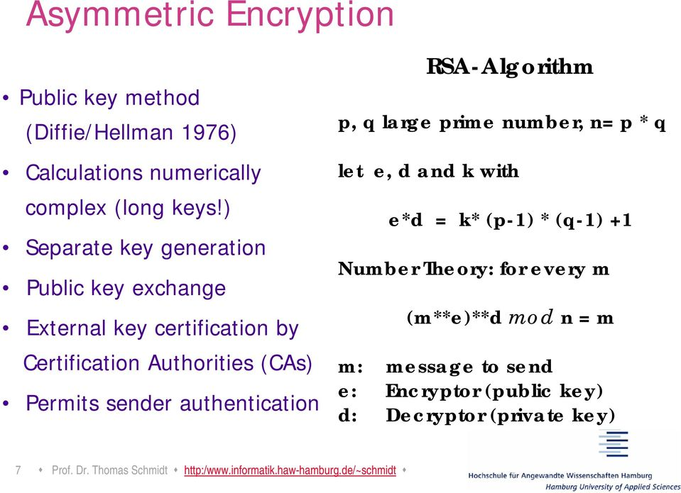 authentication RSA-Algorithm p, q large prime number, n= p * q let e, d and k with e*d = k* (p-1) * (q-1) +1 Number Theory: for
