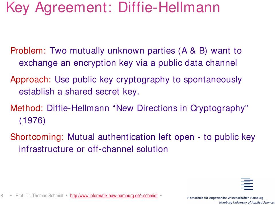 Method: Diffie-Hellmann New Directions in Cryptography (1976) Shortcoming: Mutual authentication left open - to
