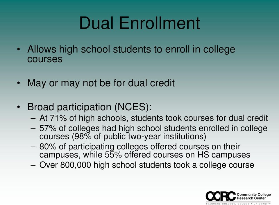 students enrolled in college courses (98% of public two-year institutions) 80% of participating colleges offered