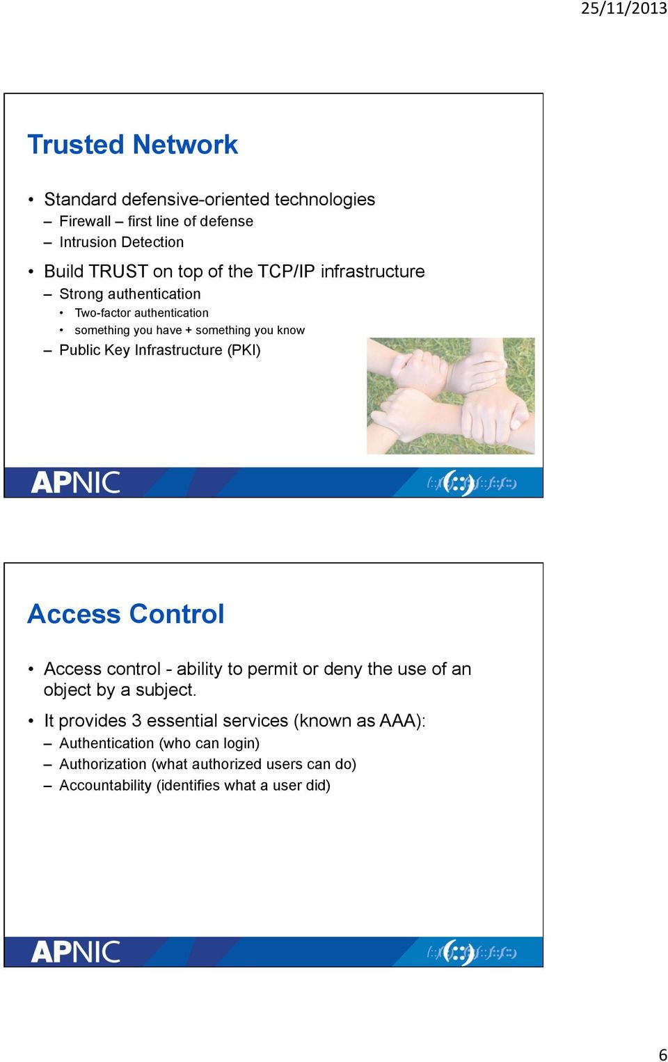 Infrastructure (PKI) Access Control Access control - ability to permit or deny the use of an object by a subject.