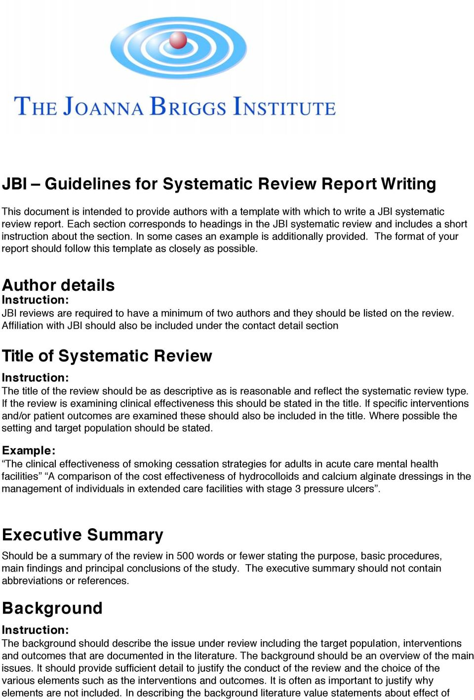 JBI Guidelines for Systematic Review Report Writing - PDF