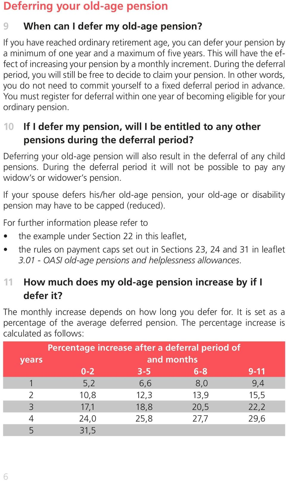 In other words, you do not need to commit yourself to a fixed deferral period in advance. You must register for deferral within one year of becoming eligible for your ordinary pension.