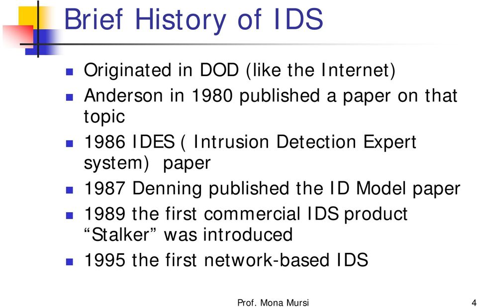 paper 1987 Denning published the ID Model paper 1989 the first commercial IDS