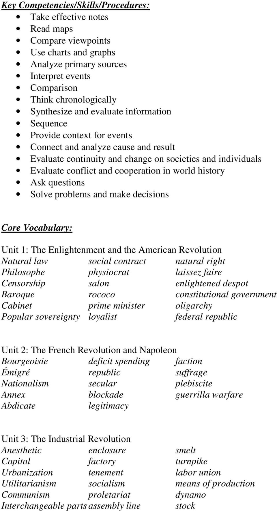 history Ask questions Solve problems and make decisions Core Vocabulary: Unit 1: The Enlightenment and the American Revolution Natural law social contract natural right Philosophe physiocrat laissez