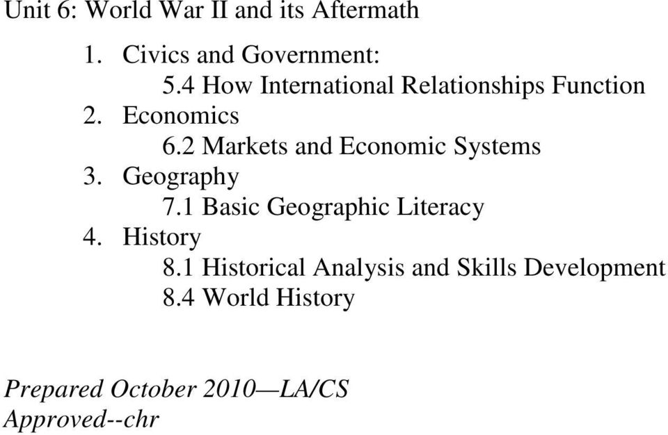 Economics 6.2 Markets and Economic Systems 3.