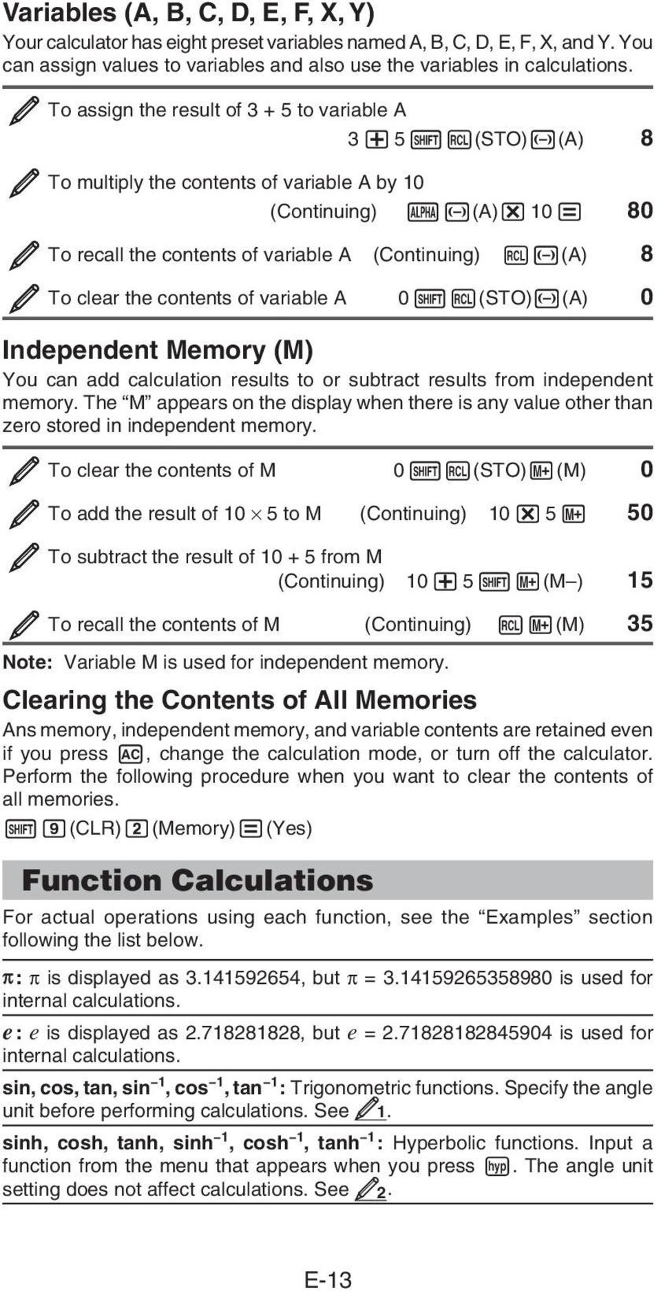 contents of variable A 0 (STO) (A) 0 Independent Memory (M) You can add calculation results to or subtract results from independent memory.