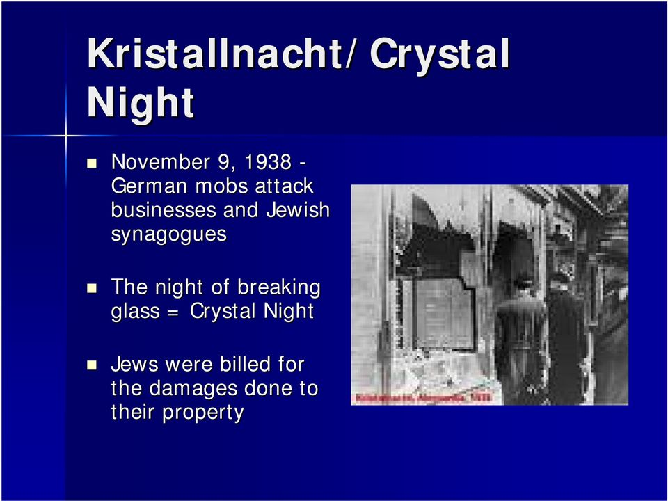 synagogues The night of breaking glass = Crystal