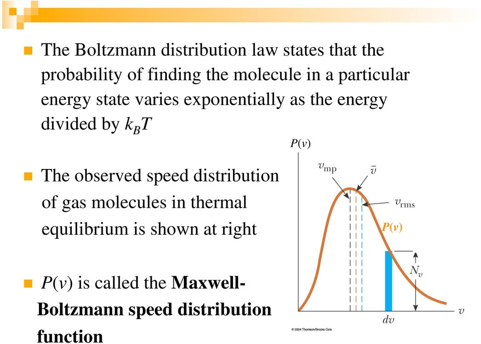 P(v) The observed speed distribution of gas molecules in thermal equilibrium is