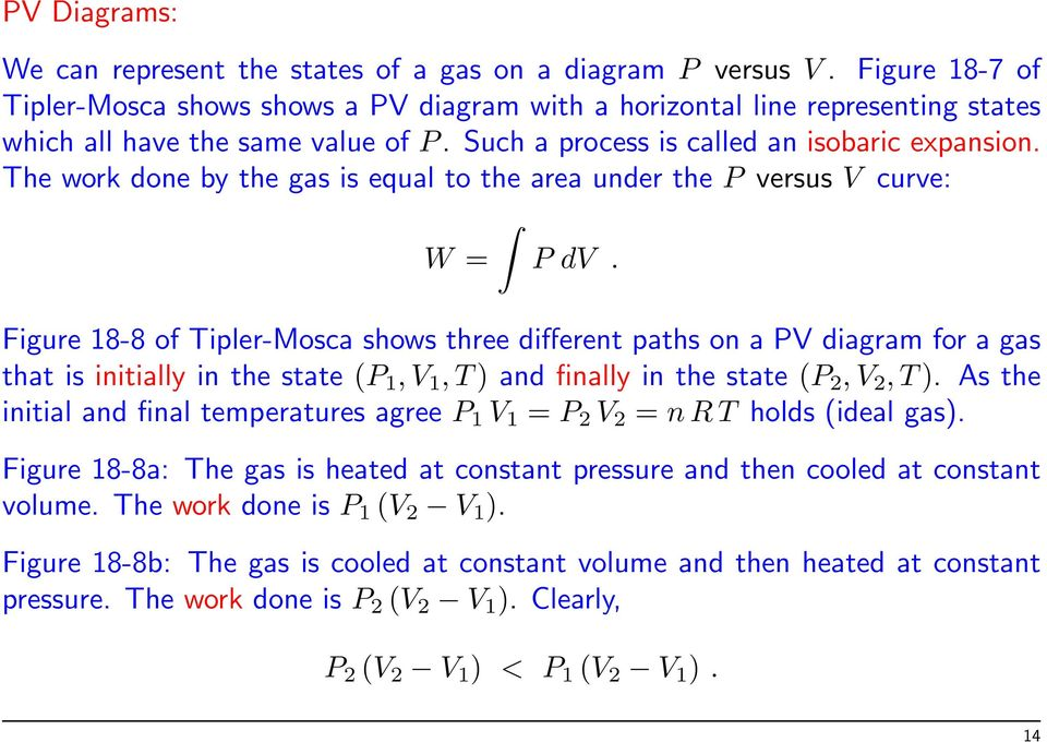 The work done by the gas is equal to the area under the P versus V curve: W = P dv.