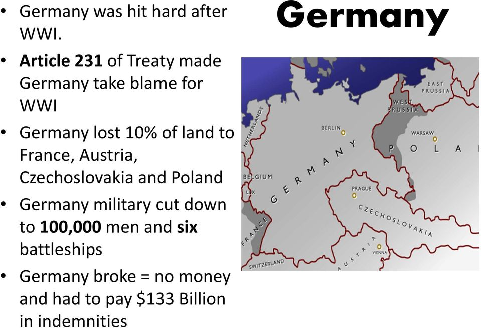 land to France, Austria, Czechoslovakia and Poland Germany military cut
