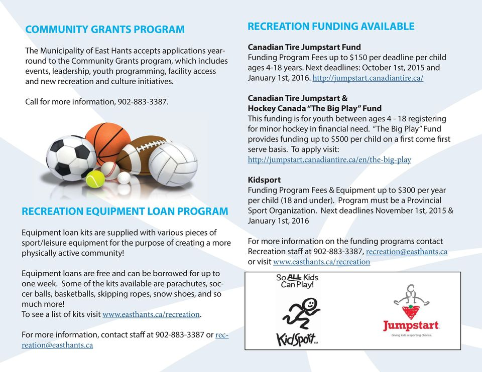RECREATION EQUIPMENT LOAN PROGRAM Equipment loan kits are supplied with various pieces of sport/leisure equipment for the purpose of creating a more physically active community!