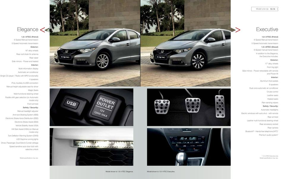 Multi-information display Automatic air conditioner Single CD player / Radio with MP3 functionality 4 speakers ipod, Auxiliary & USB connection Manual height adjustable seat for driver Magic Seats