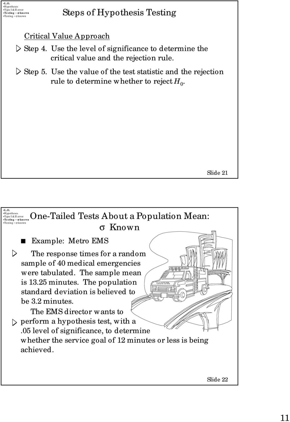 Slide 21 One-Tailed Tests About a Population Mean: Example: Metro EMS The response times for a random sample of 4 medical emergencies were tabulated.
