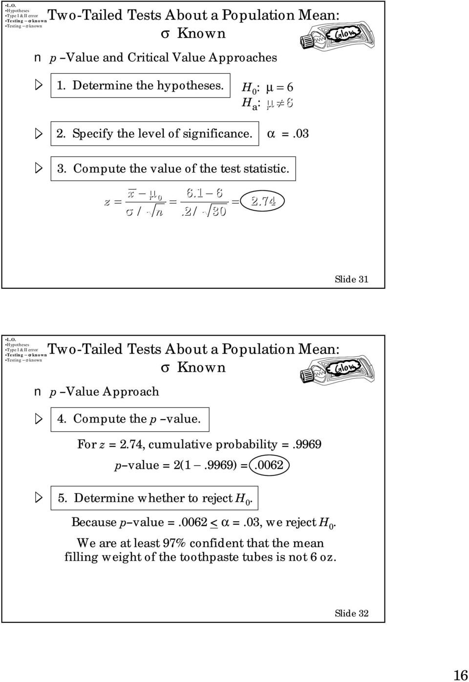 74 Slide 31 Two-Tailed Tests About a Population Mean: p Value Approach Glow 4. Compute the p value. For z = 2.74, cumulative probability =.