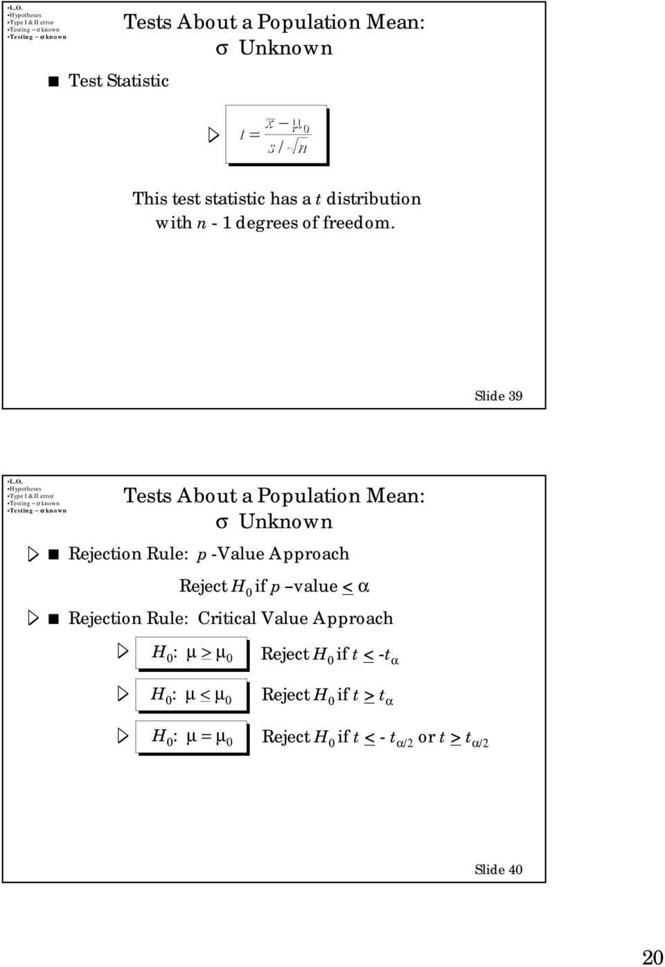 Slide 39 Tests About a Population Mean: σ Unknown Rejection Rule: p -Value Approach Reject H if p