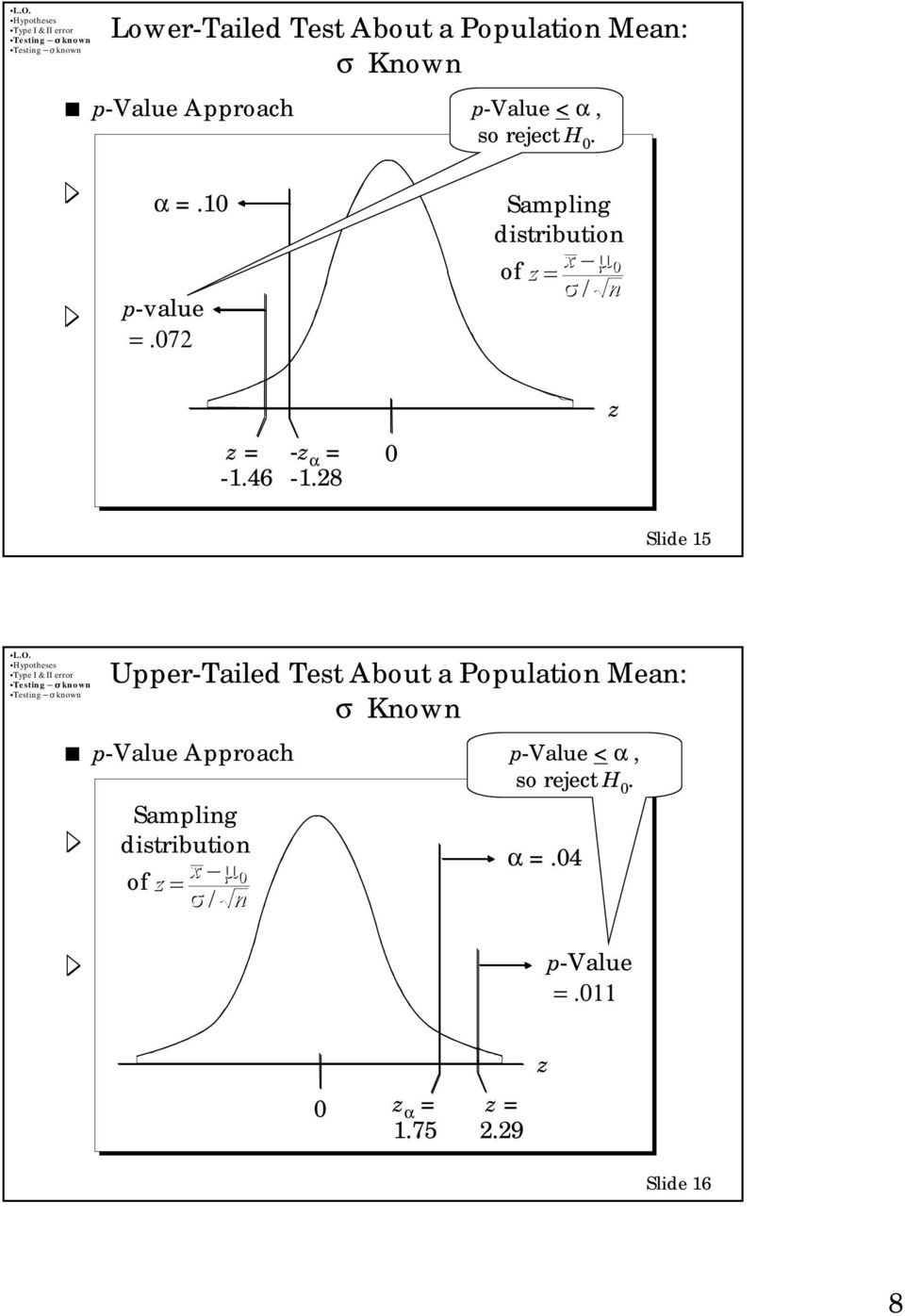 28 z Slide 15 Upper-Tailed Test About a Population Mean: p-value Approach Sampling