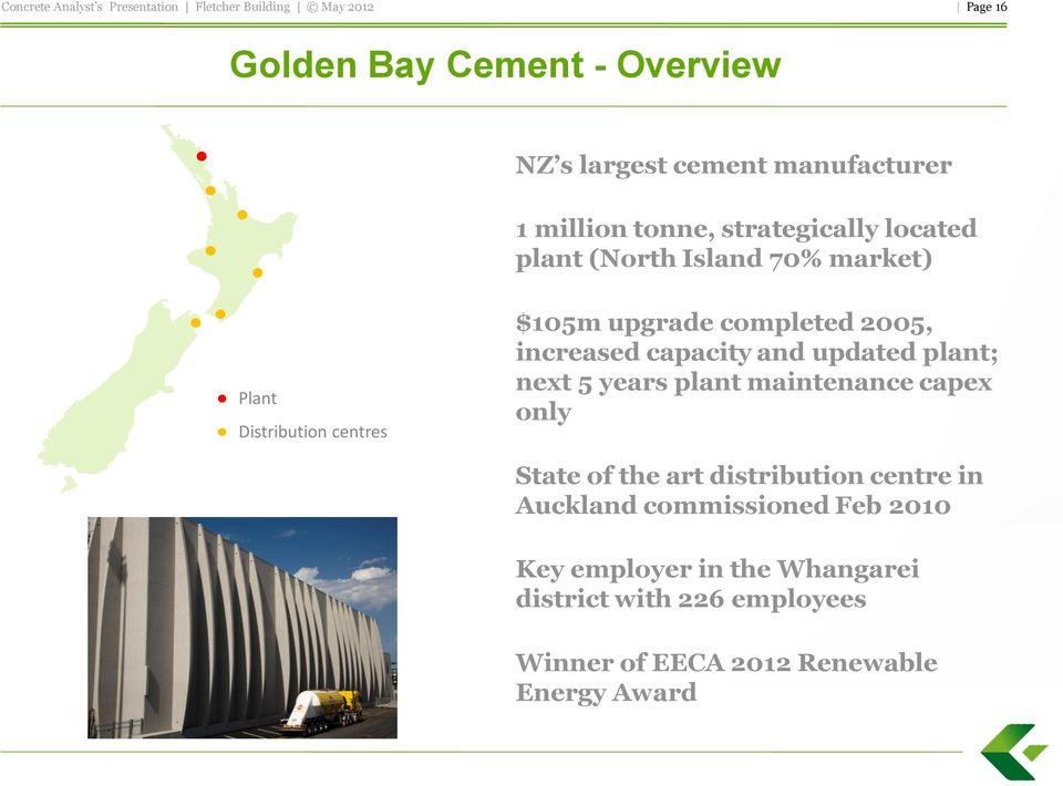 updated plant; next 5 years plant maintenance capex only State of the art distribution centre in Auckland