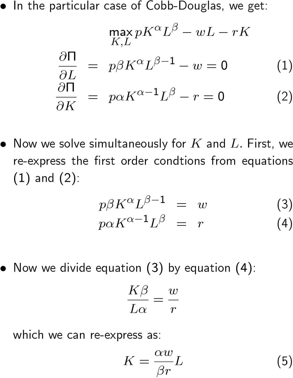 e-expess the st ode condtions fom equations () and (2): pk L = (3) pk L =