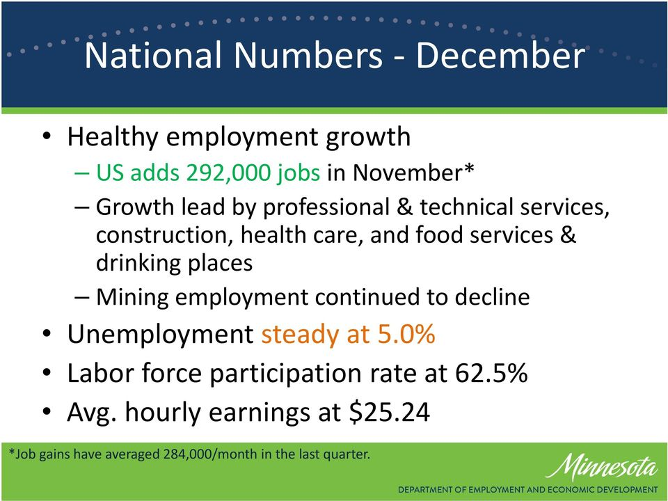 places Mining employment continued to decline Unemployment steady at 5.