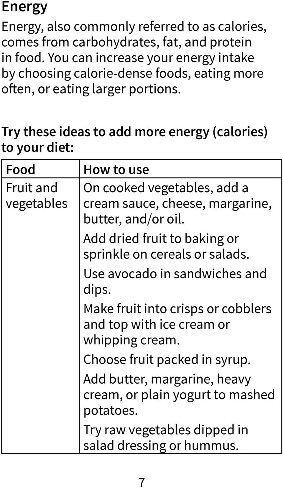 Try these ideas to add more energy (calories) to your diet: Food Fruit and vegetables How to use On cooked vegetables, add a cream sauce, cheese, margarine, butter, and/or oil.