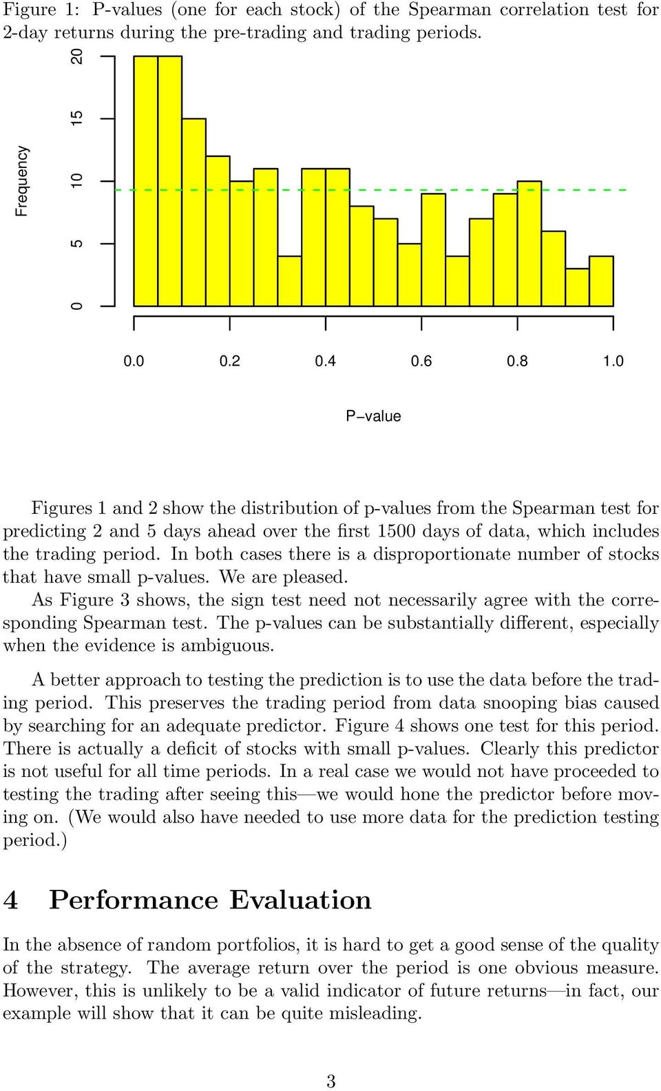 In both cases there is a disproportionate number of stocks that have small p-values. We are pleased. As Figure 3 shows, the sign test need not necessarily agree with the corresponding Spearman test.