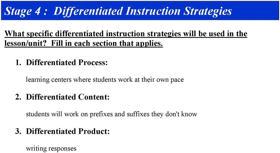 Differentiated Instruction Lesson Plan Format Pdf