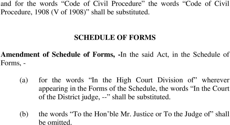 words In the High Court Division of wherever appearing in the Forms of the Schedule, the words In the Court of the