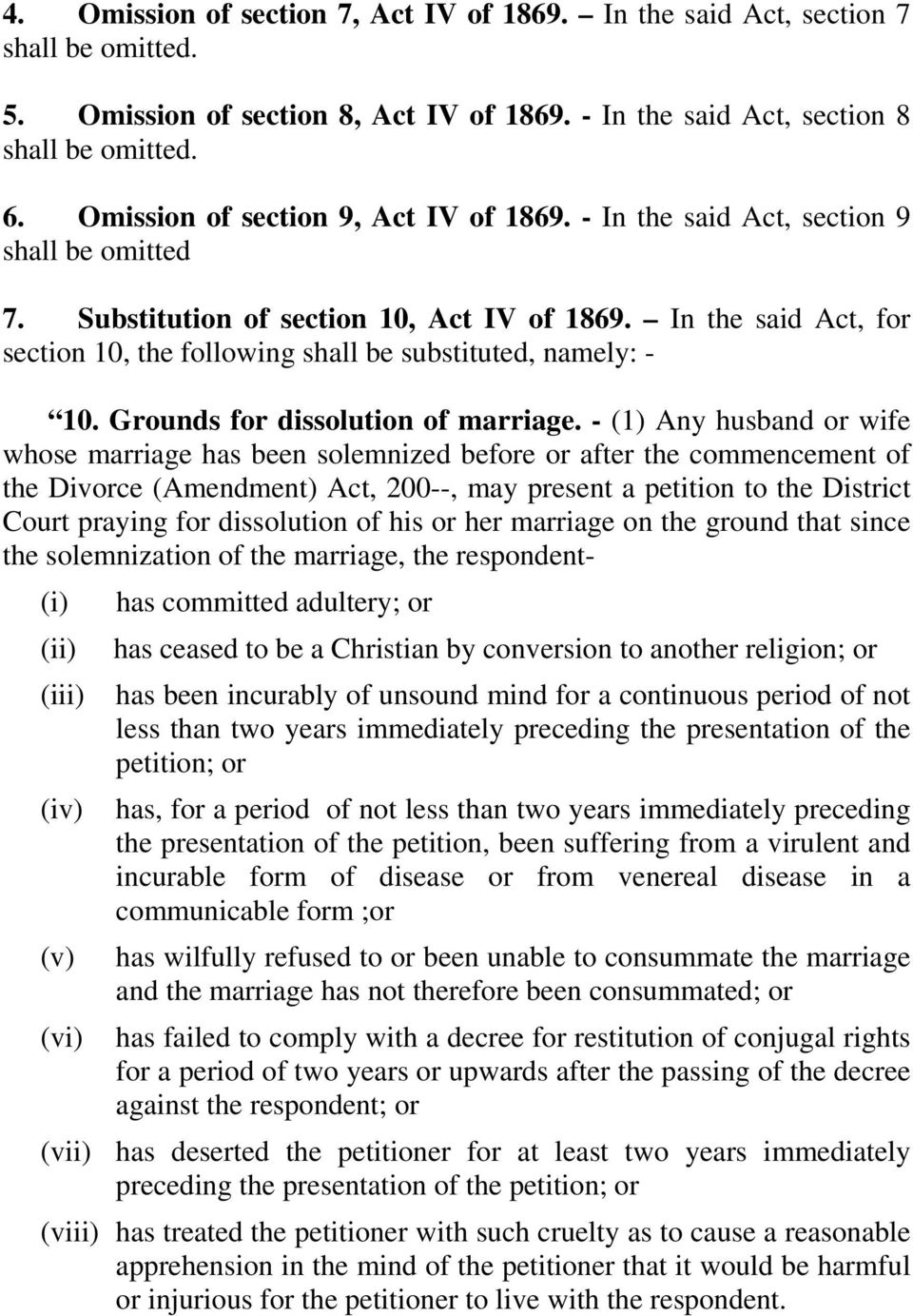 Grounds for dissolution of marriage.